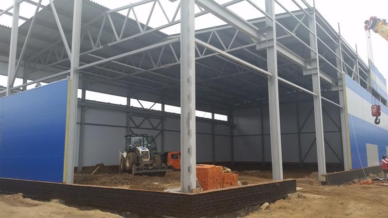 Этапы строительства производственного цеха